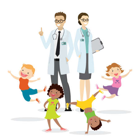 Couple of doctors and happy active kids,Children Health concept,isolated on white background,vector illustration