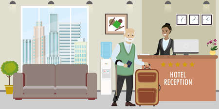 Young african american woman receptionist and senior male with suitcase stands at reception desk. Travel, hospitality, hotel booking concept.Reception interior.Flat vector illustration