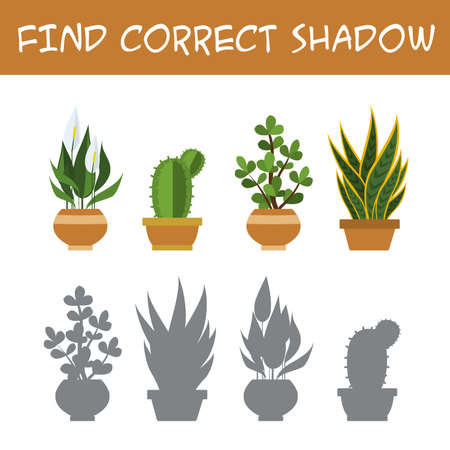Kids game with plants and flowers,find correct shadows,template page,isolated on white background,funny vector illustration Vettoriali