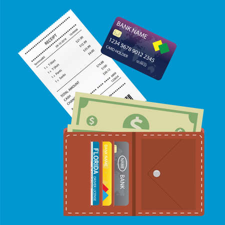 Blank receipt,wallet with money and credit card,on blue background,flat vector illustration