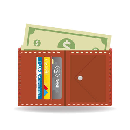 wallet with money,credit cards and driver license,isolated on white background,flat vector illustration Ilustracja