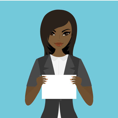 African american Female holding white paper template, flat vector illustration