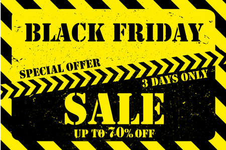 Black friday Sale background,grunge style,black and yellow banner,vector illustration Stock Vector - 154390726