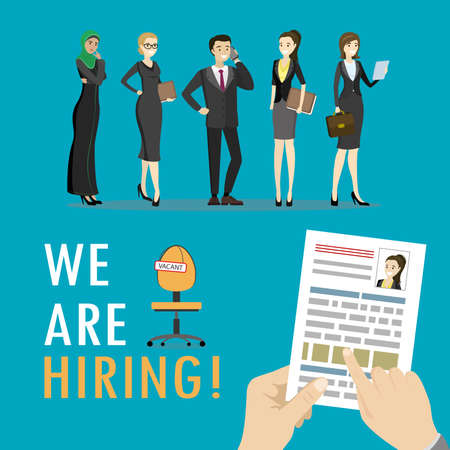 We are hiring,Search job design,Concepts for human resource and recruitment. Searching cv and profile of employees, cartoon vector illustration.
