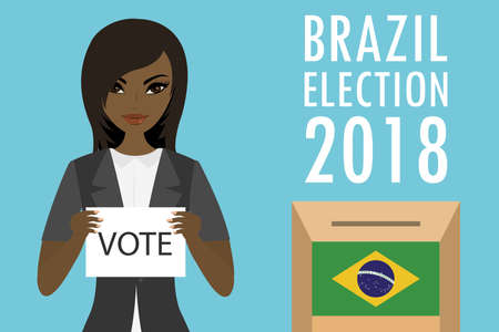 African american Female holding paper with text-vote, ballot box with brazilian flag and inscription -brazil election 2018, flat vector illustration