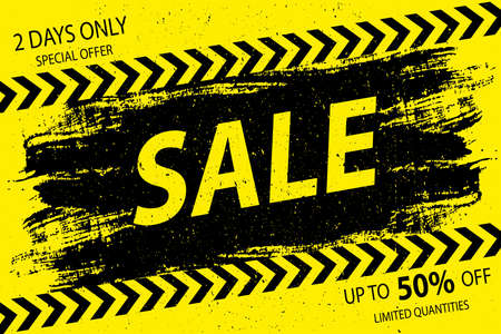 Sale grunge background,black and yellow banner,vector illustration.