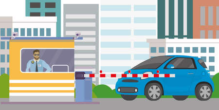 Male security guard in cabin, gate with barrier and blue car,city view on background, Flat vector illustration.