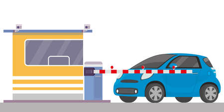 Security cabin,gate and blue car, entrance of parking,isolated on white background, flat vector illustration.