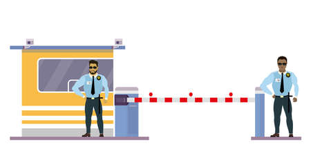 Two Male security guard at toll booth, uniformed officer or protective agent near security cabin and gate. Stock Vector - 154390805