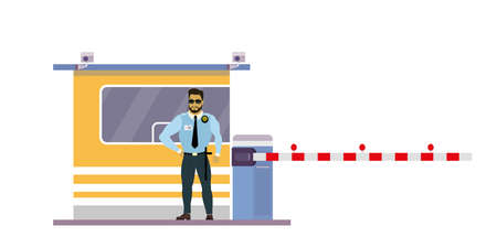 Male security guard at toll booth, uniformed officer or protective agent near gate. Isolated on white background.