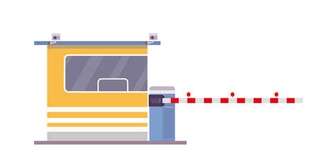 Security cabin and gate, isolated on white background. Flat vector illustration.