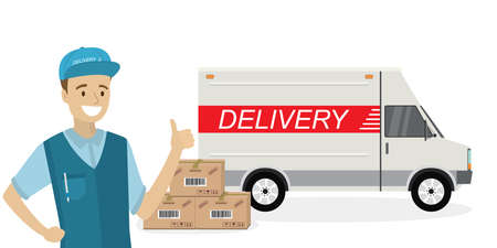 Happy caucasian deliveryman,delivery truck and carton boxes ,male in uniform and transport isolated on white background.