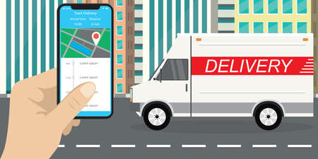Delivery truck, van in flat style,transport on city road, hand holding mobile phone with app, delivery tracking on smartphone screen.