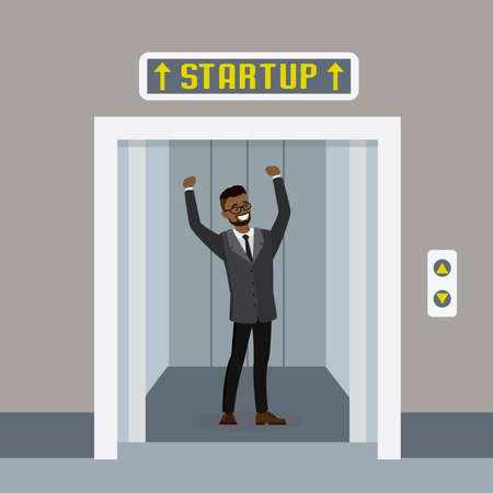 Cartoon elevator or lift with open doors and african american happy businessman, startup concept, flat vector illustration.