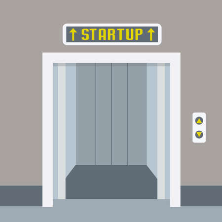 Cartoon elevator or lift with open doors, startup concept, flat vector illustration. Illustration