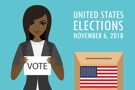 African american Female holding paper with text-vote, ballot box with usa flag and inscription -united states elections 2018, flat vector illustration