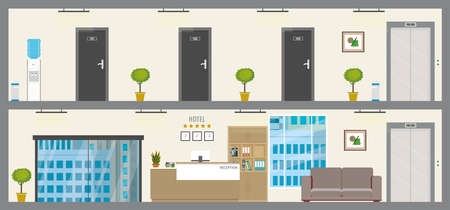 Empty Two floors of hotel or hostel,ground floor with reception and first floor with doors in rooms, flat vector illustration