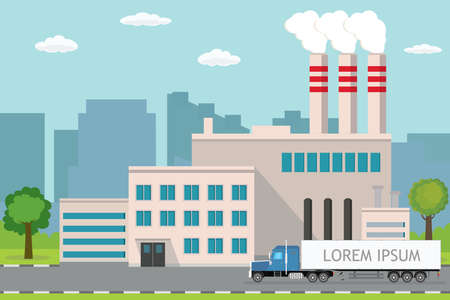 Industrial factory, city view on background, Delivery long truck on road, Pipe with smoke. Flat vector illustration.