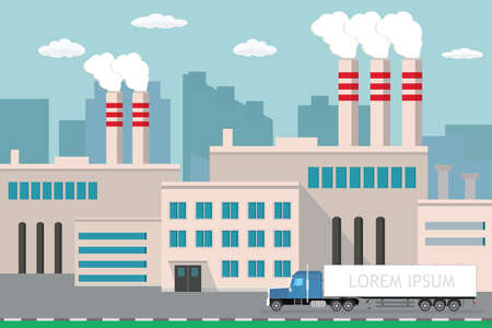 Industrial factory,city view on background, Delivery long truck on road, Pipe with smoke. Flat vector illustration. Illustration