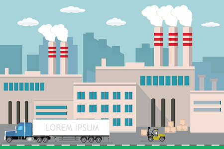 Industrial factory,city view on background, Delivery long truck and forklift with wooden box, Pipe with smoke. Flat vector illustration.