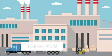 Industrial factory, city view on background, Delivery long truck and forklift with wooden box, Pipe with smoke. Flat vector illustration