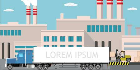 Industrial factory,city view on background, Delivery long truck and forklift with wooden box, Pipe with smoke. Flat vector illustration Illustration
