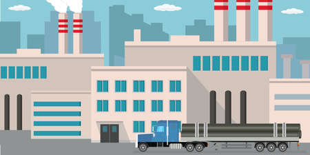 Industrial factory and long truck with metal pipes. Flat vector illustration Illustration