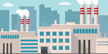 Industrial factory building, pipe with smoke, flat design style, vector illustration