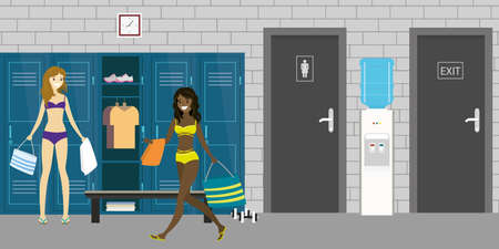 Dressing room interior with lockers and beauty female with sporting equipment, open and closed lockers, wc and exit doors, Women in lingerie, flat vector illustration 矢量图片