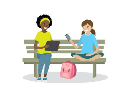 Two teen girls with gadgets are sitting on the bench, isolated on white background, flat vector illustration. Illustration