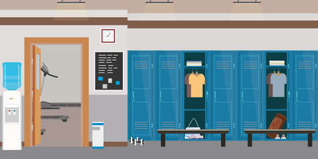 Empty Dressing room interior with lockers in gym or fitness club, open and closed lockers, flat vector illustration Illustration