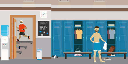 Dressing room interior with lockers in gym or fitness club, open and closed lockers, male with towel, flat vector illustration.
