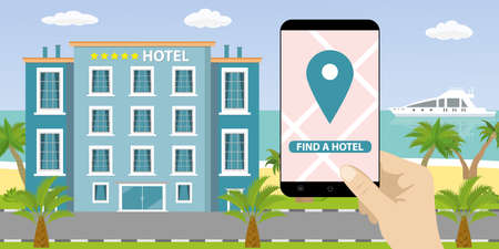 Hotel building and ocean beach,sand shore with palm trees, hand holding smartphone with navigation application, find or booking hotel concept, flat vector illustration.