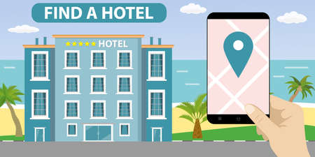 Hotel building and ocean beach, sand shore with palm trees, hand holding smartphone with navigation application, find or booking hotel concept, flat vector illustration. Illustration