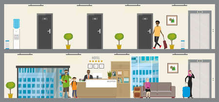 Two floors of hotel or hostel, ground  floor with reception and first floor with doors in rooms, reception human and travelers with baggage in hotel, flat vector illustration