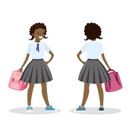 African american female kid with bag, front and back view, isolated on white background, flat vector illustration Illustration