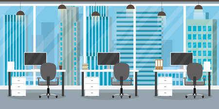 Interior of modern office or coworking place with furniture, three empty workplace, flat vector illustration.