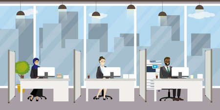 Modern office, office manager on the workplace, three characters, People of different nationalities, flat vector illustration.