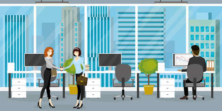 Interior of modern office or coworking place with furniture, three workplace, different people working, back and profile view, flat vector illustration. Illustration
