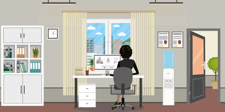 Office room with window, open door and modern furniture, female on workplace back view, flat vector illustration
