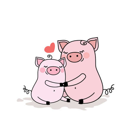 Funny pig with baby piggy,adorable animal family