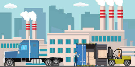 Delivery long truck,container and forklift with wooden box,Pipe with smoke Illustration