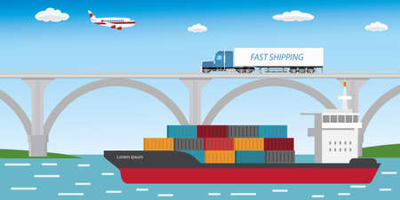 Aircraft,long truck on bridge and container ship,delivery and shipping concept banner,