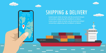 Container ship in sea, vessel boat transport,shipping and delivery tracking