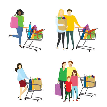 Different people buyers with shopiing bags,shopping concepts collection Stock Vector - 154862049