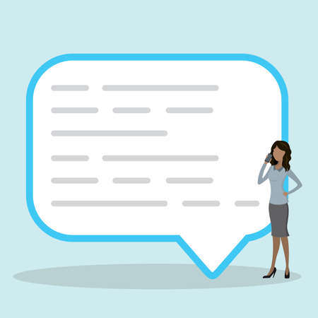 speech bubble for comment and reply people,Female using smart phone Illustration