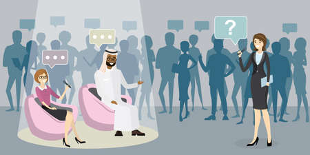 Beautiful female reporter with microphone interviews a arab businessman and european businesswoman, Studio with viewers in the background, flat vector illustration