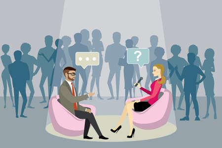 Beauty female reporter with microphone interviews a european businessman, Studio with viewers in the background, flat vector illustration