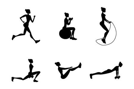 Silhouettes of women in fitness poses, Isolated On White Background, Vector Illustration