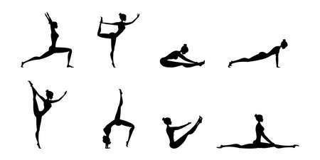 Silhouettes of women in yoga poses, Isolated On White Background, Vector Illustration